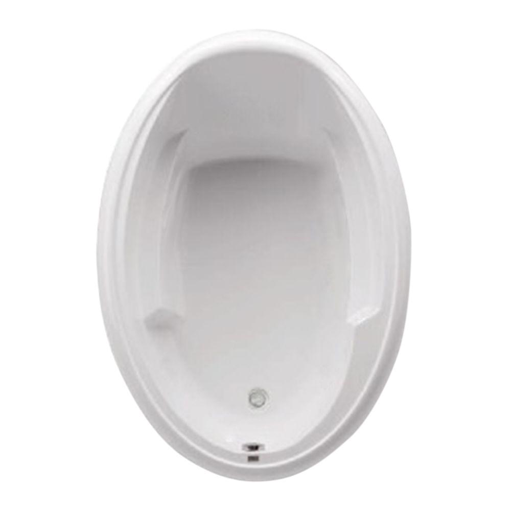 Aquatic Ariel I 5 ft. Acrylic Universal Drain Oval Drop-in Soaking Bathtub in White
