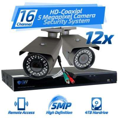 16-Channel HD-Coaxial 5 MP Surveillance Security System 12 GW561HD 3.3 mm - 12 mm Varifocal Lens 98 ft. IR and 4TB HDD