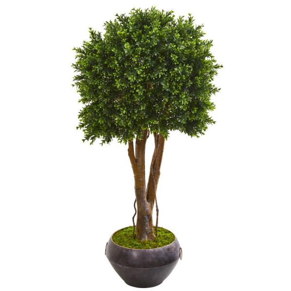 Indoor/Outdoor 47 In. Boxwood Artificial Topiary Tree in Metal Bowl UV Resistant