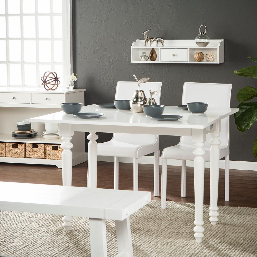 Southern Enterprises Ennis 1 Piece Soft White Convertible Desk To Dining Table With Hutch