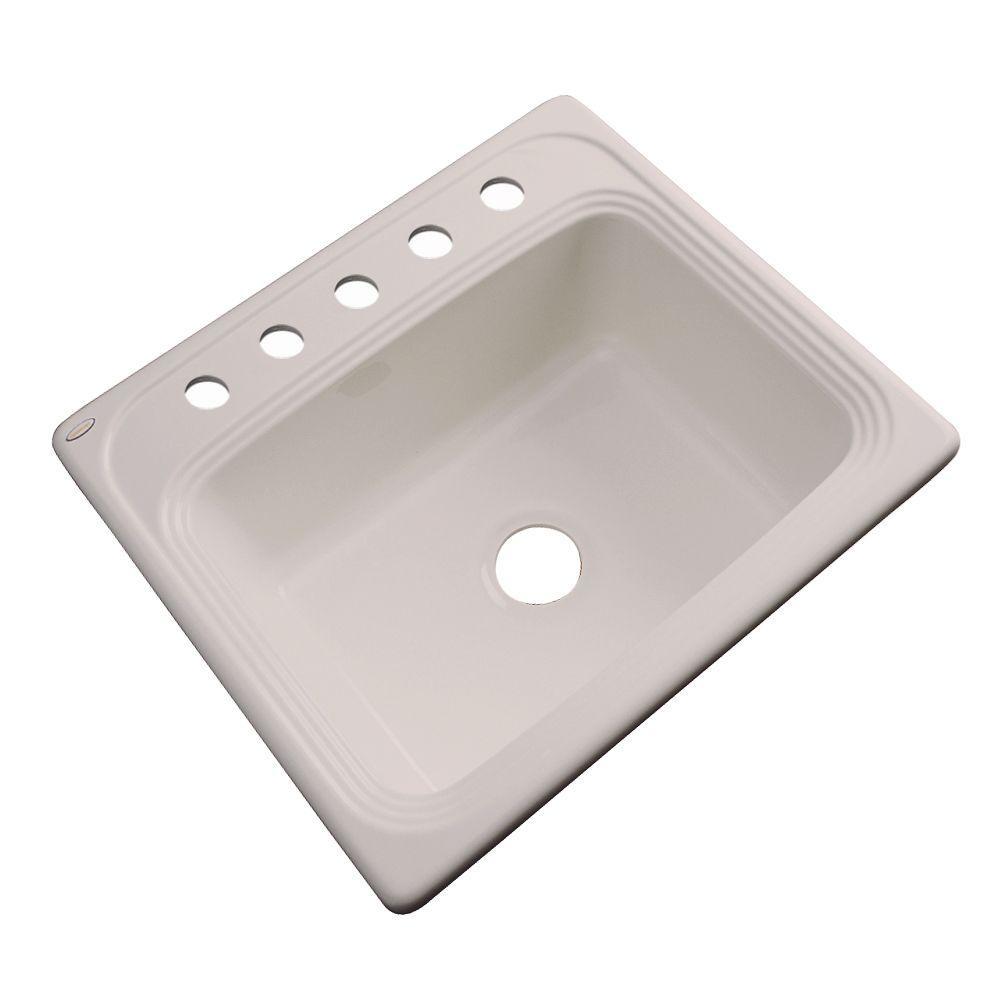 Wellington Drop-in Acrylic 25x22x9 in. 5-Hole Single Bowl Kitchen Sink in Shell