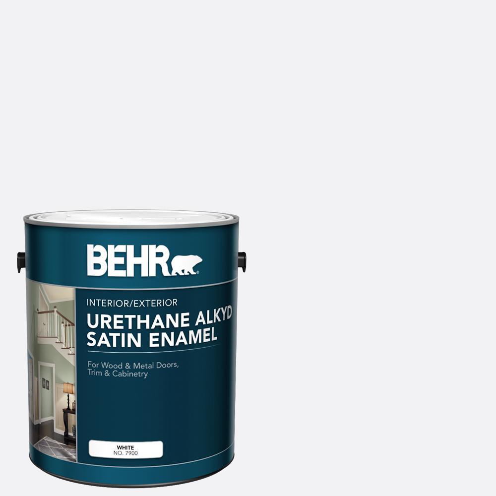 BEHR 1 gal. White Urethane Alkyd Satin Enamel Interior/Exterior Paint