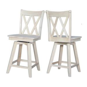 Amazing Double X Back 24 In Unfinished Wood Swivel Bar Stool Ibusinesslaw Wood Chair Design Ideas Ibusinesslaworg