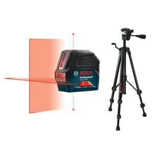 Bosch 65 ft. Self-Leveling Cross-Line Laser Level with Plumb Points with Free Compact Tripod with Extendable Height by Bosch