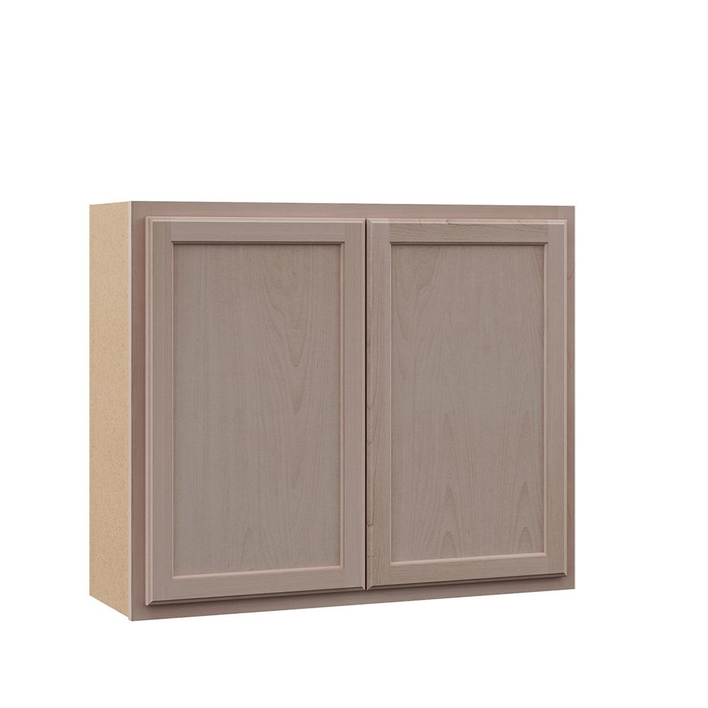 Hampton Bay Hampton Unfinished Assembled 36x30x12 in. Wall Kitchen Cabinet  in Beech