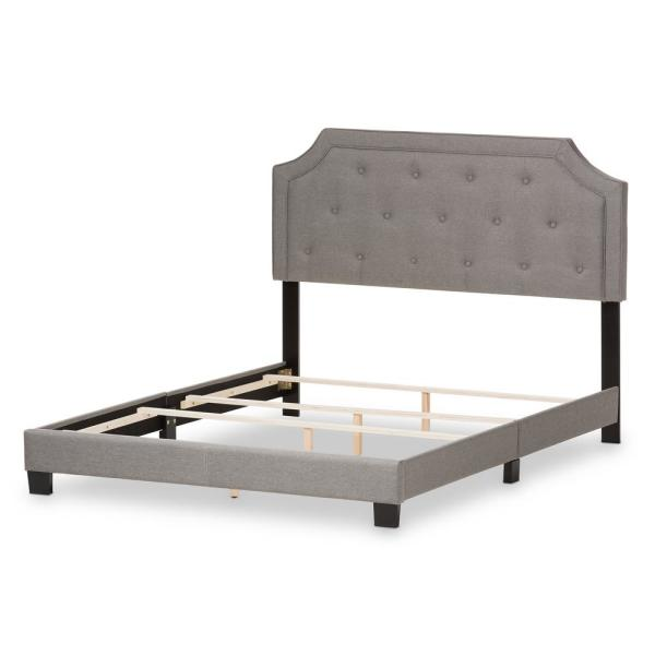 Baxton Studio Willis Gray Fabric Upholstered King Bed 28862-7465-HD