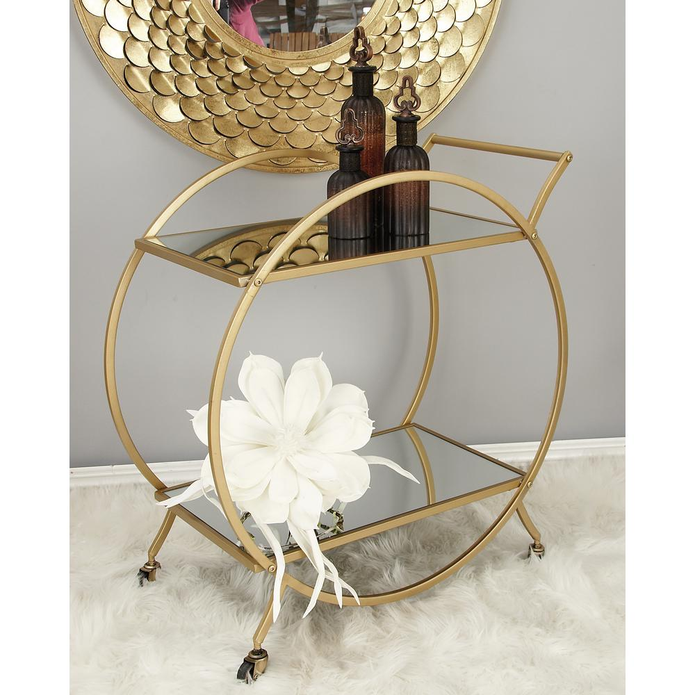 2-Tiered Iron and Glass Round-Framed Rectangular Tray Cart in Metallic Light