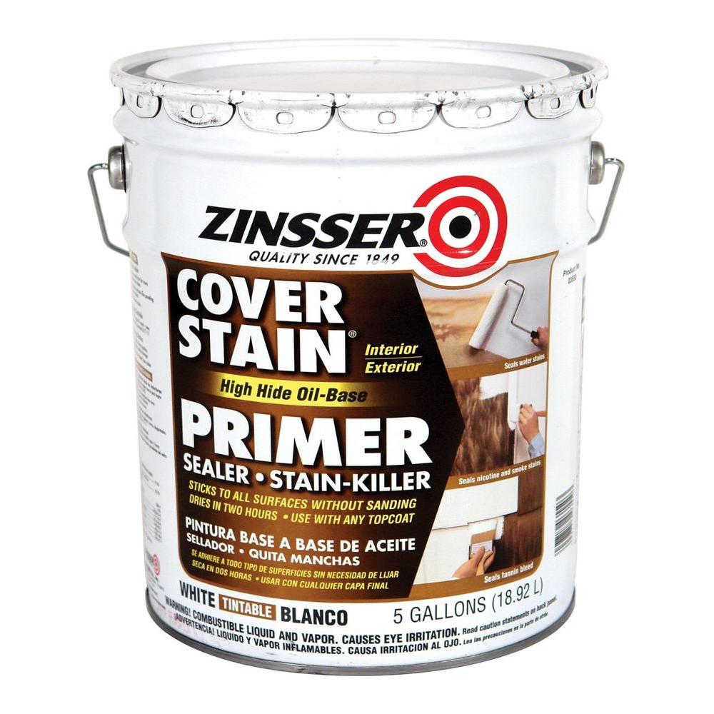 Zinsser Cover Stain 5 gal. White High Hide Oil-Based Interior/Exterior Primer and Sealer