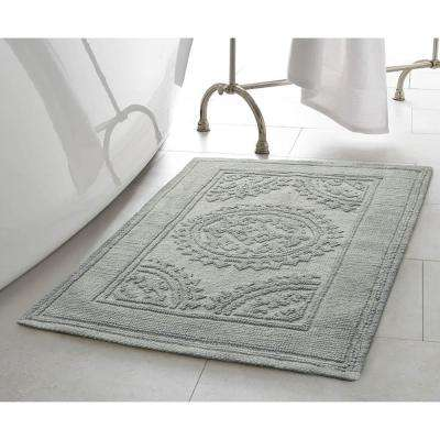 Stonewash Medallion 21 in. x 34 in. Cotton Bath Rug in Gray Blue