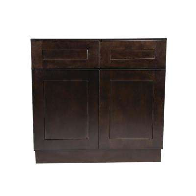 Brookings Fully Assembled 36x34.5x24 in. Kitchen Base Cabinet in Espresso