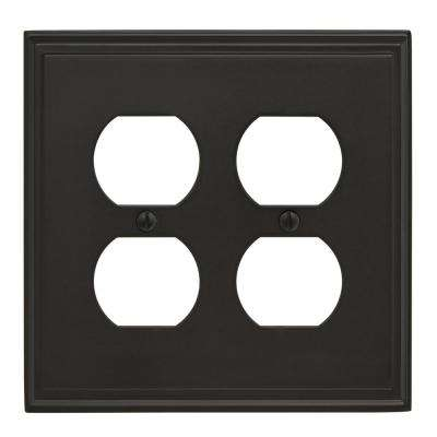 Mulholland 2 Receptacle Black Bronze Wall Plate
