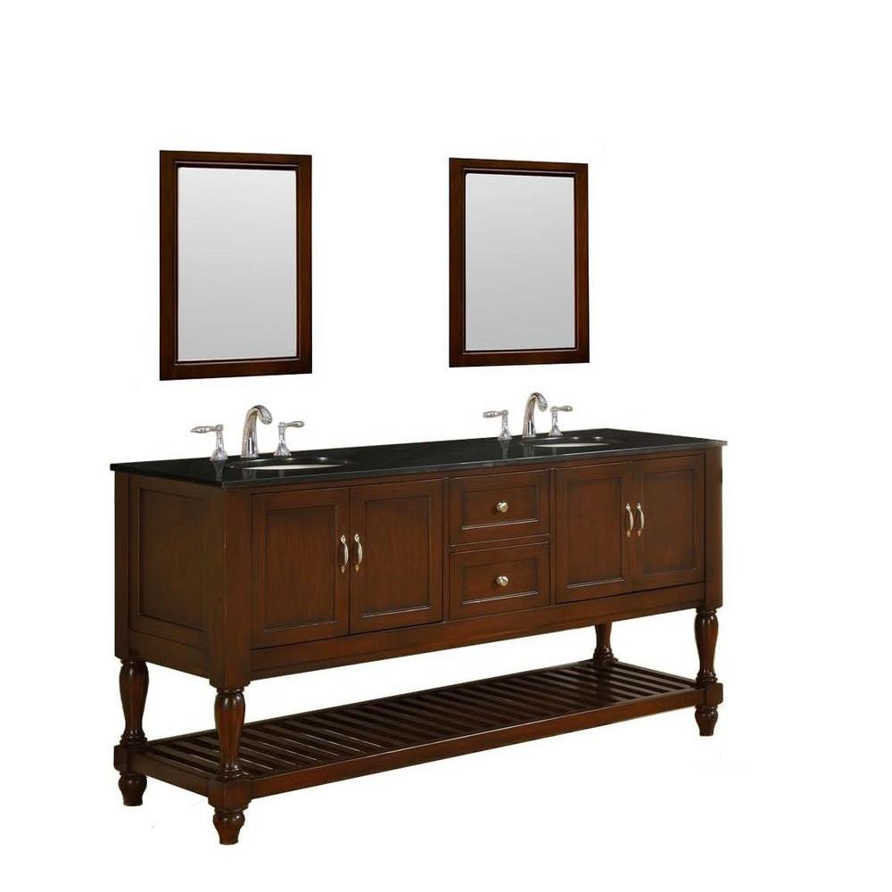 Mission Turnleg 70 in. Vanity in Dark Brown with Granite Vanity Top in Black and Mirrors