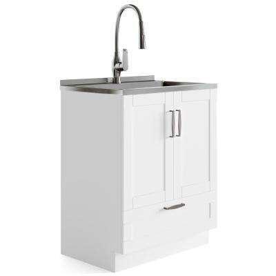 Leonard 27.6 in. x 18.8 in. x 51.5 in. MDF Laundry Cabinet with Undermount Stainless Steel Sink and Pull-Out Faucet