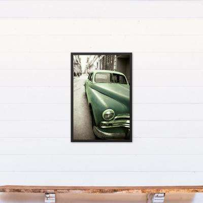 20 in. x 30 in. ''Vintage Green Car'' Printed Framed Canvas Wall Art