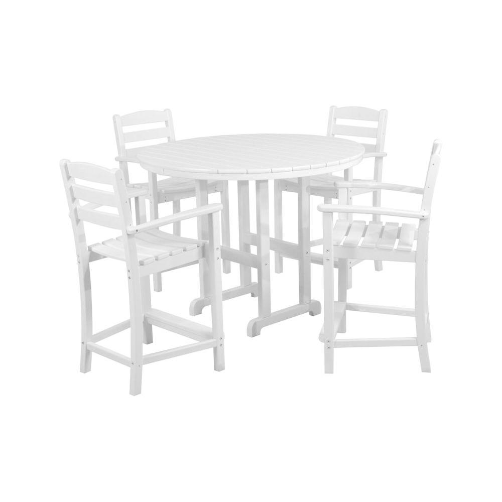 POLYWOOD La Casa Cafe White 5-Piece Plastic Outdoor Patio Counter Set
