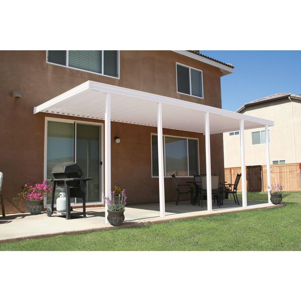 home depot patio covers Integra 22 ft. x 10 ft. White Aluminum Attached Solid Patio Cover  home depot patio covers
