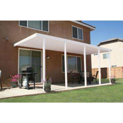 22 ft. x 10 ft. White Aluminum Attached Solid Patio Cover with 5 Posts (20 lbs. Live Load)