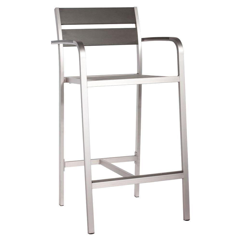 zuo megapolis brushed aluminum outdoor patio bar armchair 703185