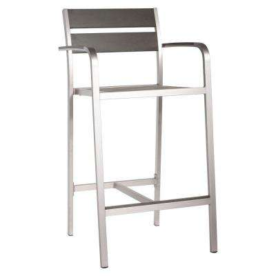 Megapolis Brushed Aluminum Outdoor Patio Bar Armchair