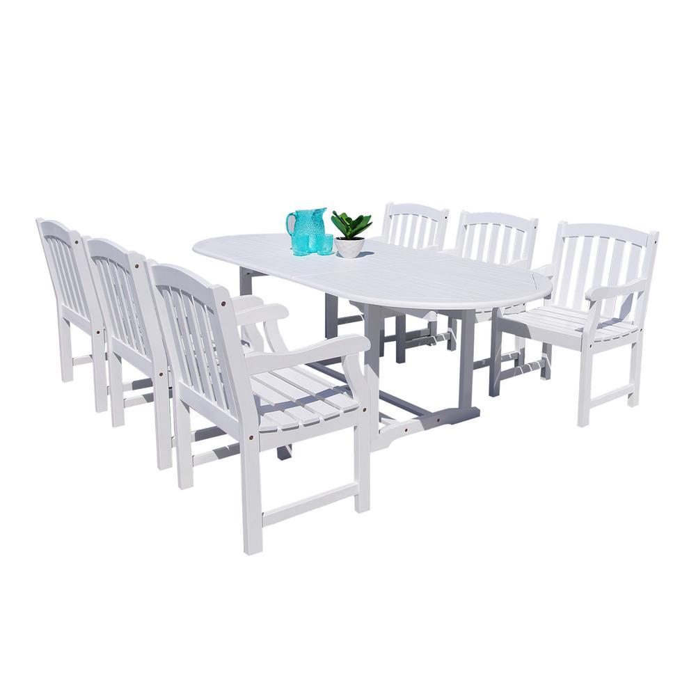 Bradley 7-Piece Wood Oval Outdoor Dining Set