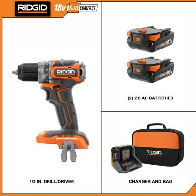 18V Brushless SubCompact Cordless 1/2 in. Drill Driver Kit with (2) 2.0 Ah Battery, Charger and Bag