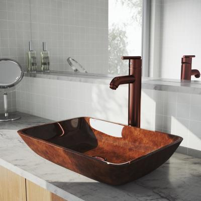 Russet Glass Vessel Bathroom Sink in Red with Seville Faucet in Oil Rubbed Bronze