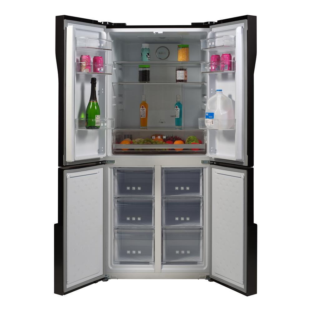 Magic Chef 30 7 In 15 0 Cu Ft Quad French Door Refrigerator In Black Stainless Steel Mcqr1500st The Home Depot