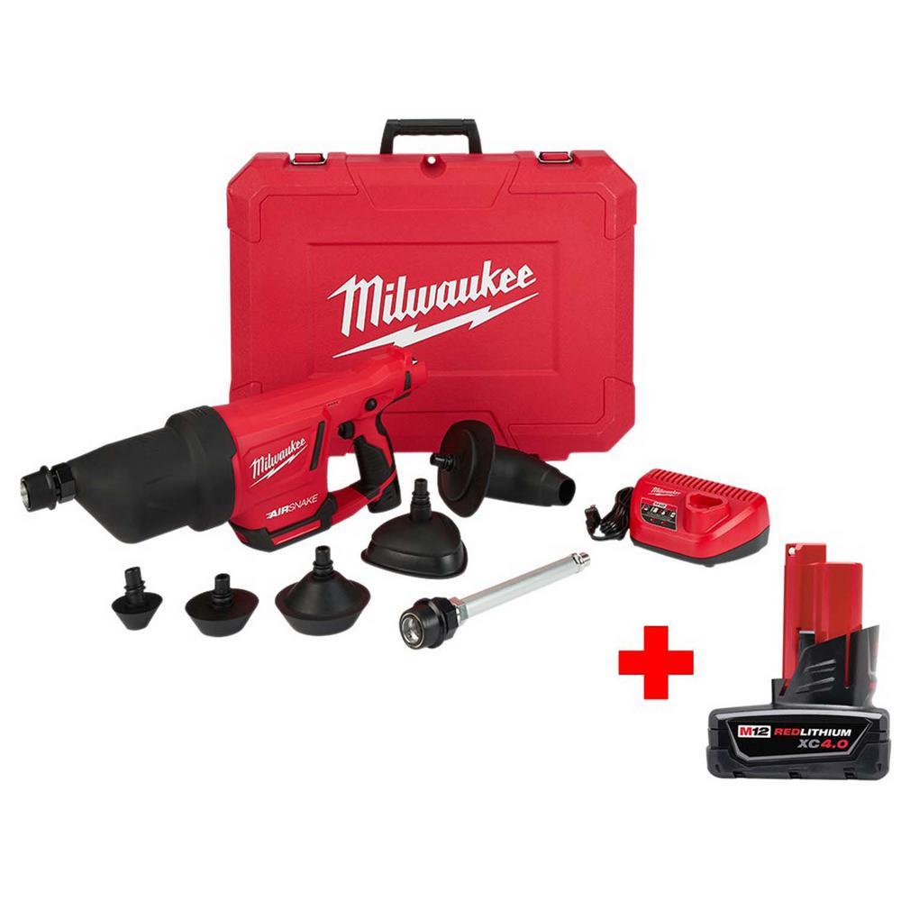 Milwaukee M12 12-Volt Lithium-Ion Cordless Drain Cleaning AIRSNAKE Air Gun Kit with Free 4.0Ah M12 Battery