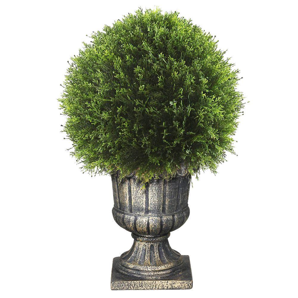 27 in. Upright Juniper Ball Topiary Tree in a Decorative Urn