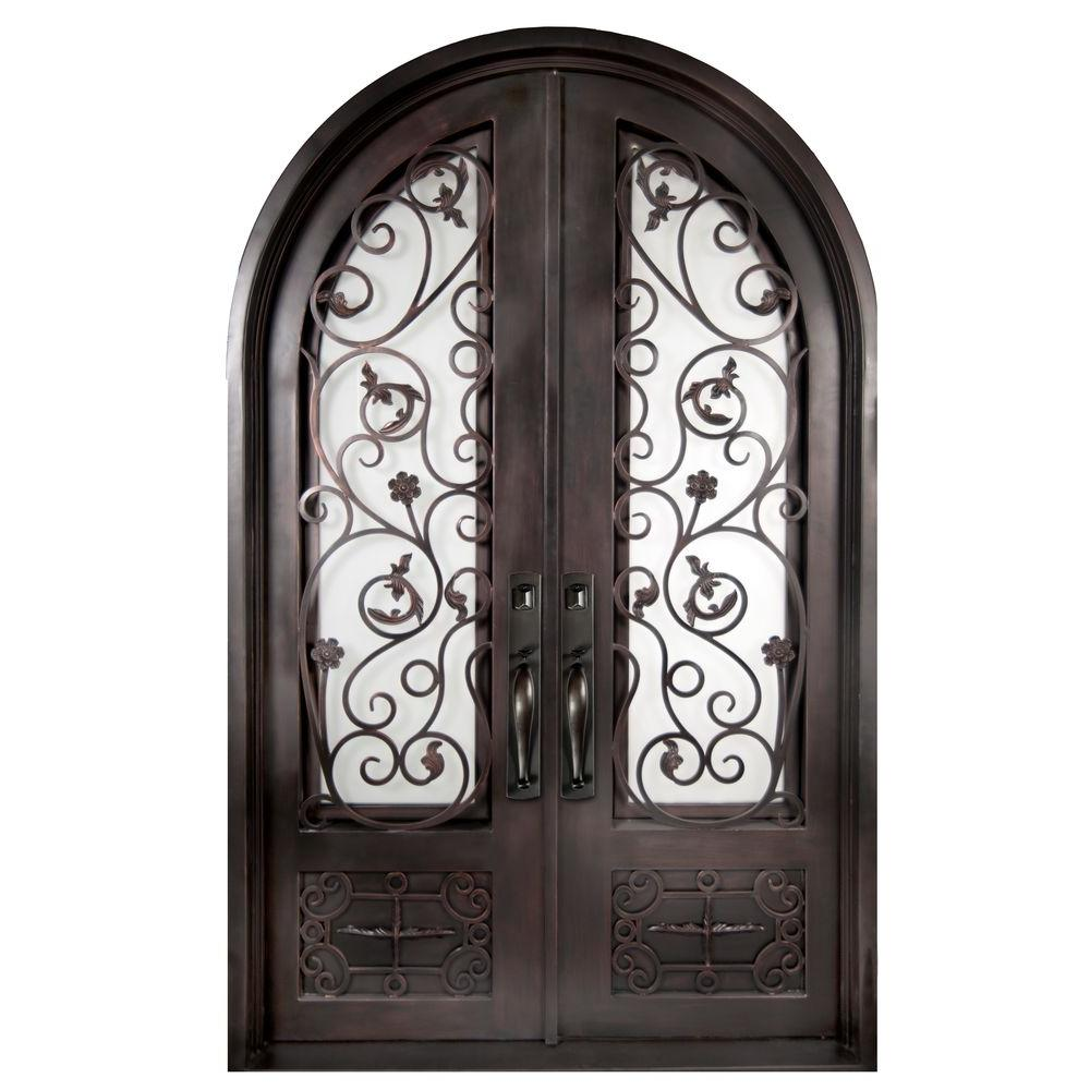 Iron Doors Unlimited 62 in. x 97.5 in. Fero Fiore Classic 3/4 Lite Painted Oil Rubbed Bronze Wrought Iron Prehung Front Door