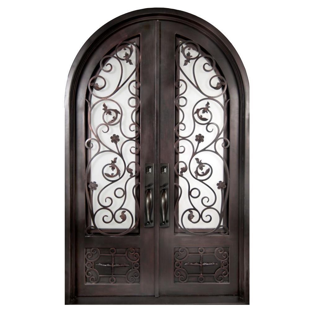 74 in. x 97.5 in. Fero Fiore 3/4 Lite Painted Oil Rubbed Bronze Wrought Iron Prehung Front Door