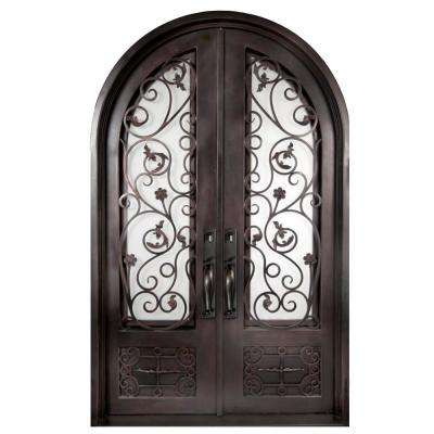 74 in. x 97.5 in. Fero Fiore 3/4 Lite Painted Oil Rubbed Bronze Wrought Iron Prehung Front Door