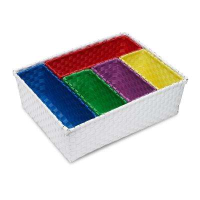16.5 in. W x 12.6 in. D x 5.5 in. H 6-Piece Nested Polypropylene Basket Set in Blue, Yellow, Green, Purple, White, Red