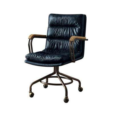 Hedia Vintage Blue Top Grain Leather Office Chair