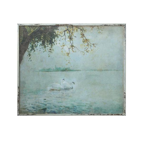 dd7e49abe8d2 31.5 in. x 37.25 in. Wood Framed Canvas Vintage Swans Wall Art