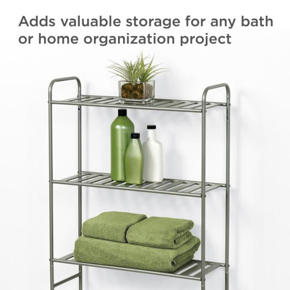 Sturdy 3 Tier Home Bath Storage Rack Steel Satin Nickel Standing Space Saver