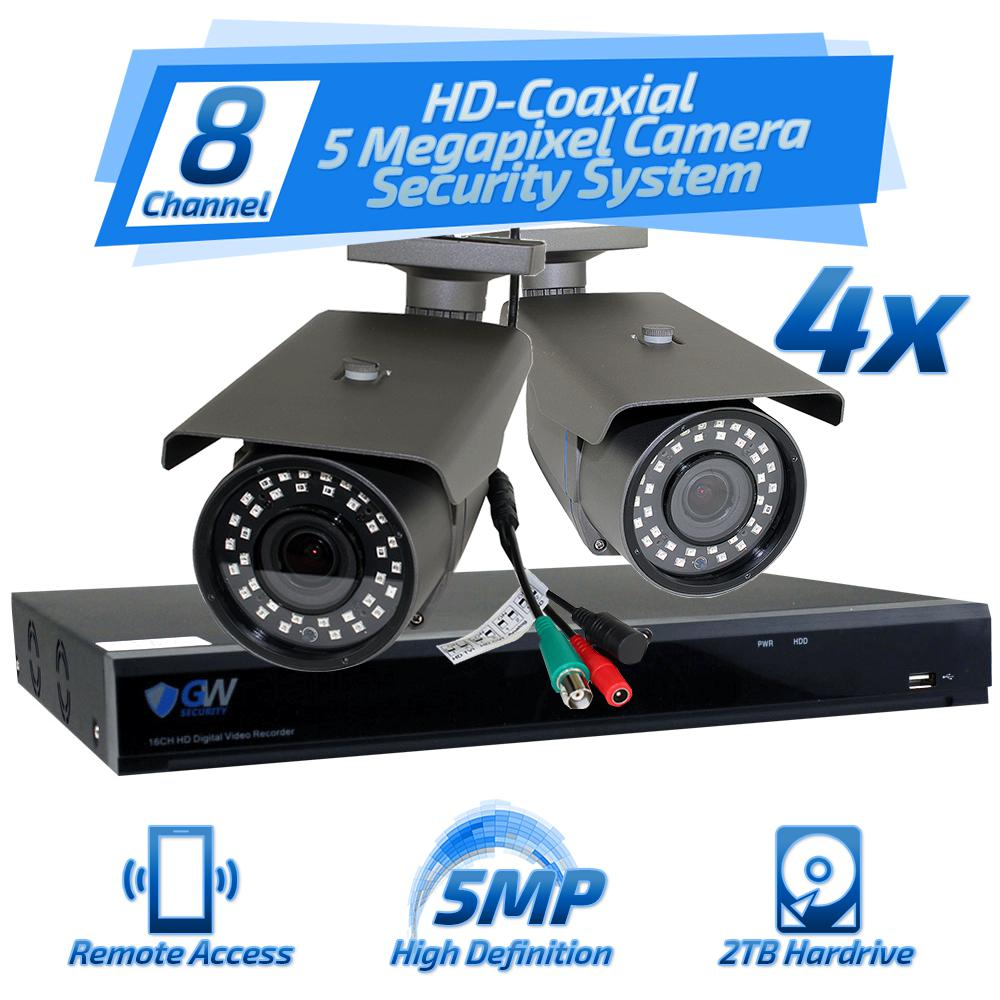 8 Channel HD-Coaxial 5MP Security Surveillance System 4 Bullet Cameras 2.8