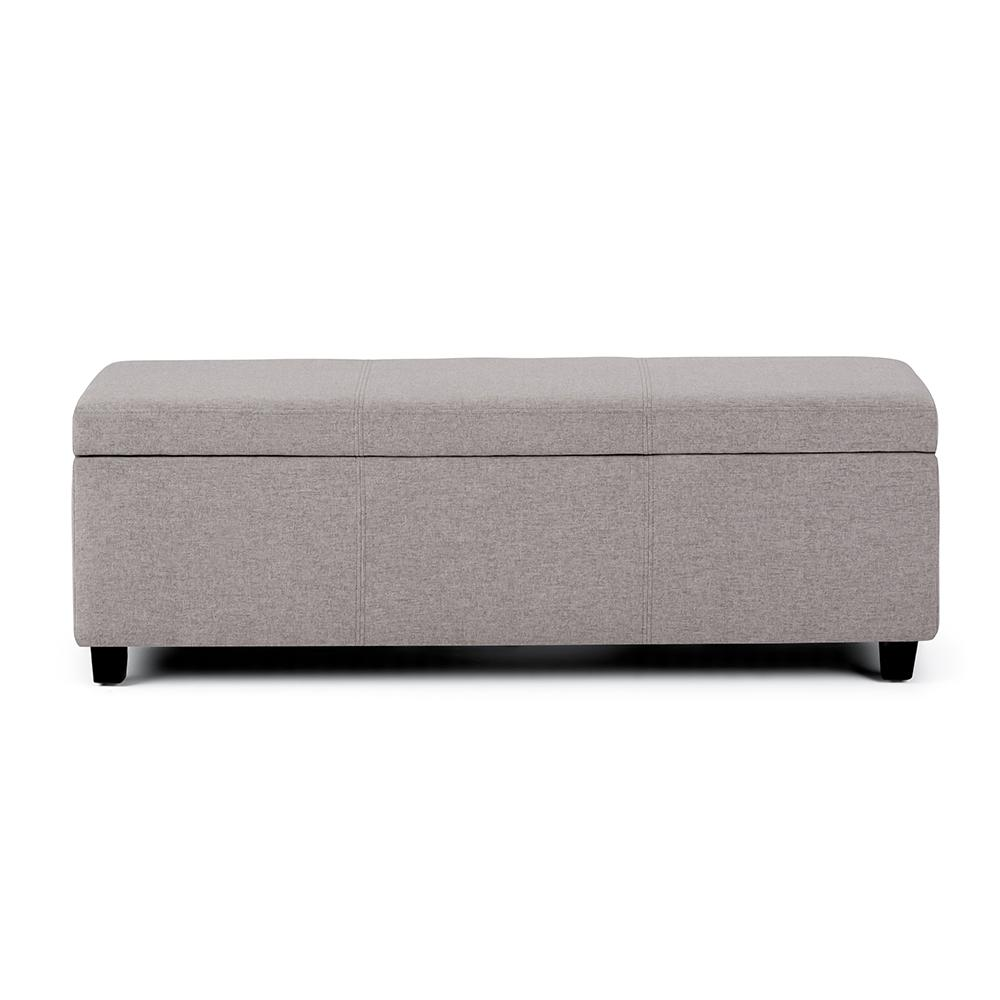 Fabulous Lincoln 48 Inch Wide Contemporary Rectangle Storage Ottoman In Cloud Grey Linen Look Fabric Short Links Chair Design For Home Short Linksinfo