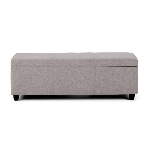 Lincoln 48 inch Wide Contemporary Rectangle Storage Ottoman in Cloud Grey Linen Look Fabric