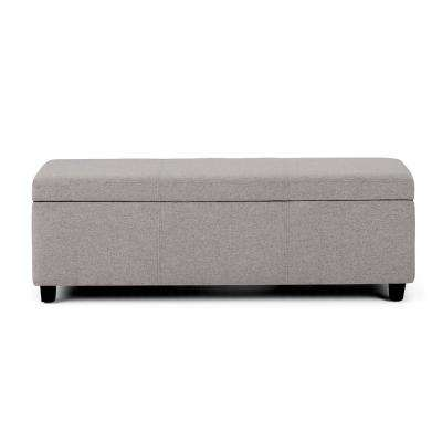 Avalon 48 in. Contemporary Storage Ottoman in Cloud Grey Linen Look Fabric