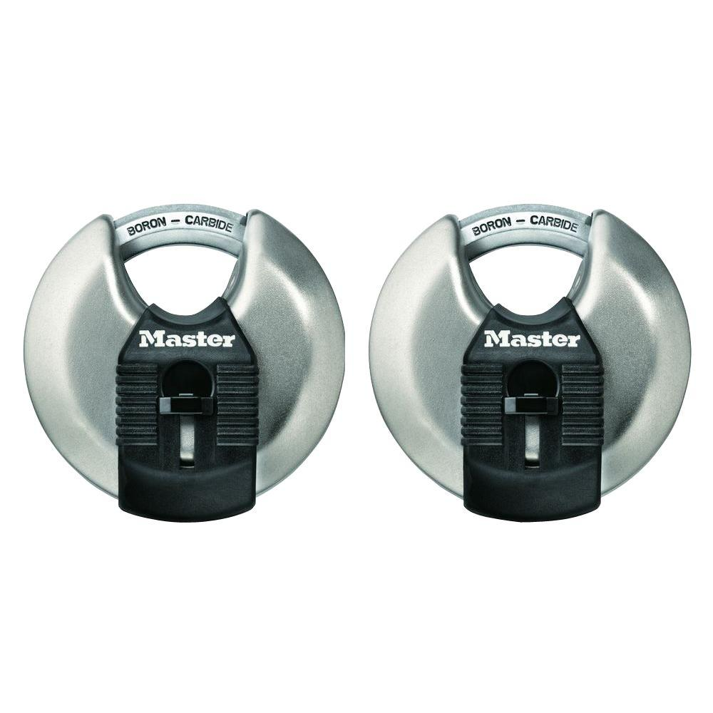 Master Lock M40XT Magnum 2-3/4 in. Wide Stainless Steel Discus Keyed Padlock with 5/8 in. Long Shrouded Shackle (2-Pack)