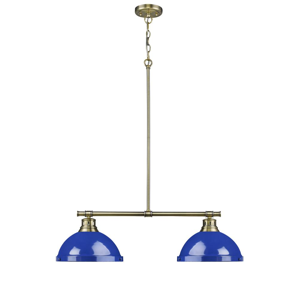Golden Lighting Duncan Ab 2 Light Aged Brass Pendant With Blue Shades