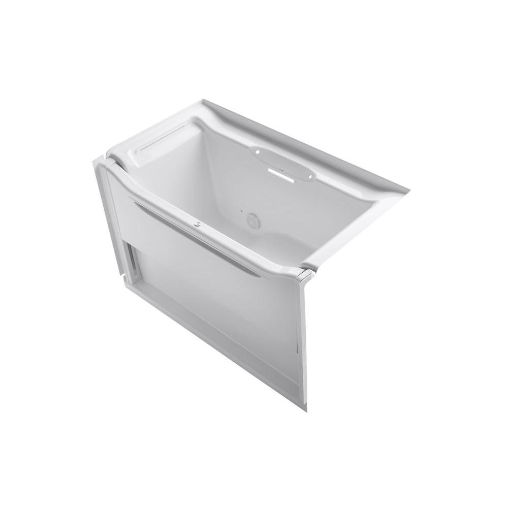 KOHLER Elevance Rising Wall Left-Hand Drain Bathtub in White-K-1913 ...