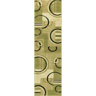 Ruby Galaxy Waves Green 2 ft. x 7 ft. Contemporary Runner Rug