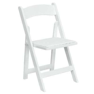 Hercules Series White Wood Folding Chair with Vinyl Padded Seat