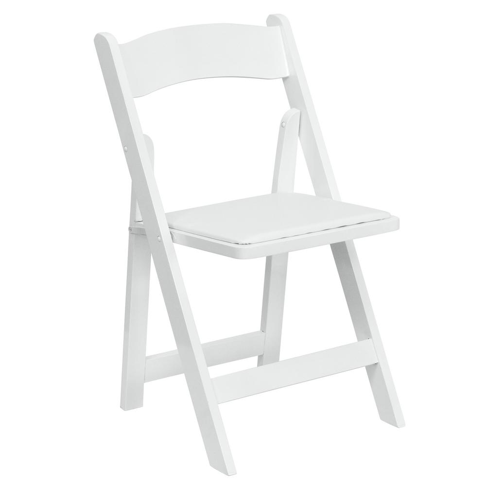 Flash Furniture Hercules Series White Wood Folding Chair with Vinyl Padded Seat  sc 1 st  The Home Depot & Flash Furniture Hercules Series White Wood Folding Chair with Vinyl ...