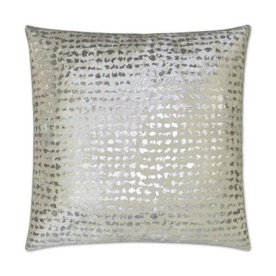 Stealth White Geometric Down 24 in. x 24 in. Throw Pillow