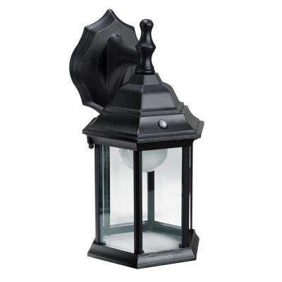 1-Light Black Outdoor Intergrated LED Wall Mount Lantern