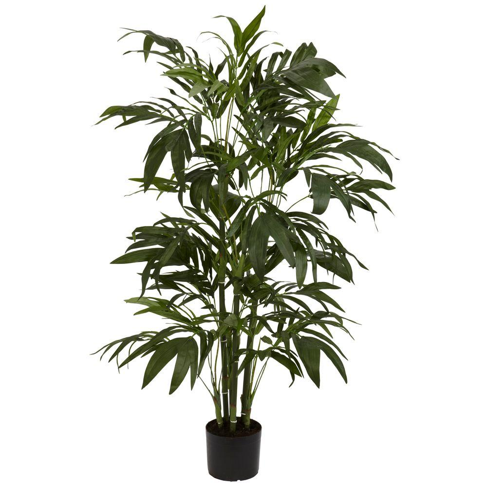 Nearly Natural 4 ft. Green Bamboo Palm Silk Tree