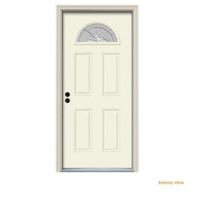 36 in. x 80 in. Fan Lite Langford Vanilla Painted Steel Prehung Right-Hand Inswing Front Door w/Brickmould